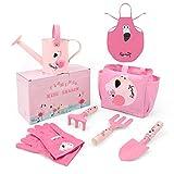 Hortem Kinder-Gartengeräte-Set, 7-teiliges Metall-Kinder-Gartenset mit Handwerkzeug, Gartentasche, Kinder-Gartenhandschuhe, Kinderschürze, Gartengeschenke für Kinder (Flamingo Pink)