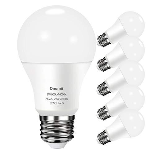 Bombilla LED E27 9W, 900 lúmenes equivalente a 60W 75W, Luz Blanca Fría 6000K, No Regulable, 6 Unidades