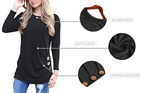 MOLERANI Women's Long Sleeve Scoop Neck Casual Tunic T Shirt Blouse Tops Black L