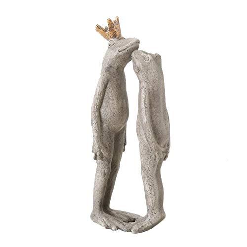 Home Collection Frosch Froschkönig mit Goldener Krone Liebespaar küssende Frösche 22cm grau Kunstharz
