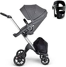 Stokke Xplory V6 Silver Chassis Stroller with Black Leatherette Handle, Black Melange With Cup Holder