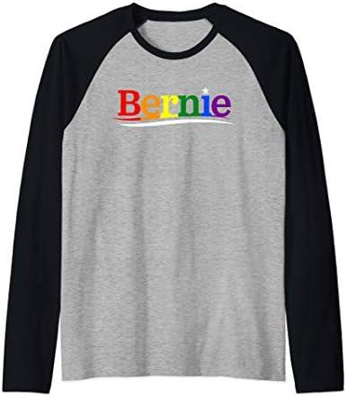 Bernie Sanders For President T Shirt LGBT Gay Pride Rainbow Raglan Baseball Tee product image