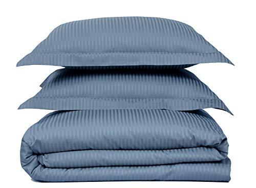 "500 Thread Count 100% Cotton Stripe Best Hotel Luxury Bedding 3-Piece Duvet Cover Set Zipper Closure-King (106""x92"")-3 Piece (1 Duvet Cover + 2 Pillow Shams), Soft, Silky Sateen Weave"