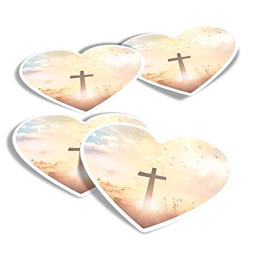 Vinyl Heart Stickers (Set of 4) - Christian Cross Religion Jesus Fun Decals for Laptops,Tablets,Luggage,Scrap Booking,Fridges #16488