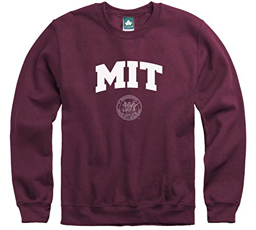 Ivysport MIT University Crewneck Sweatshirt, Crest, Maroon, Medium