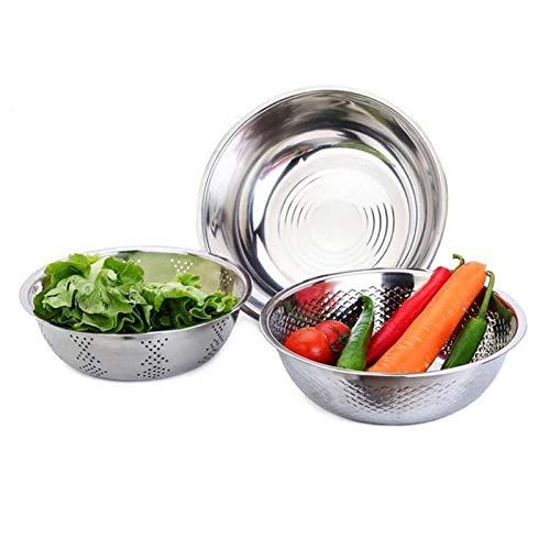 Chytaii - Cesta de vaciado para verduras con cesta de vaciado de acero inoxidable y estanque 3 en 1 multifunción para verduras y frutas