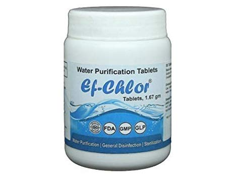 Travel Survival 17 mg - 100 Tablets Ef-Chlor Water Purification Treatment and Camping Purifies 1.32 Gallons in 1 Tablet - Portable Drinking Water Treatment Ideal for Emergencies