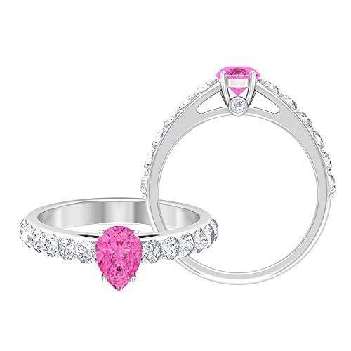 Anillo solitario en forma de pera de 5 x 7 mm, anillo de piedra lateral, anillo de compromiso en forma de lágrima de oro blanco