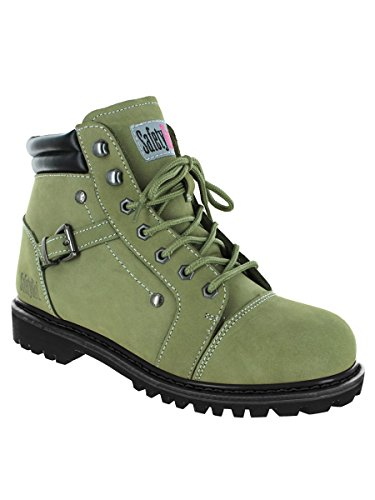 Safety Girl GS007-GRN-8.5M Safety Girl Fusion Work Boot - Moss Steel Toe 8.5M, English, Capacity, Volume, Leather, 8.5M, Green ()