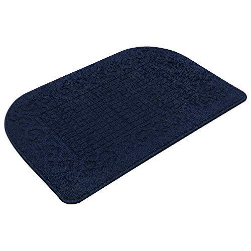 COSY HOMEER 32X20 Inch Anti Fatigue Kitchen Rug Mats are Made of 100% Polypropylene Half Round Rug Cushion Specialized in Anti Slippery and Machine Washable (32x20in Navy 1pc)