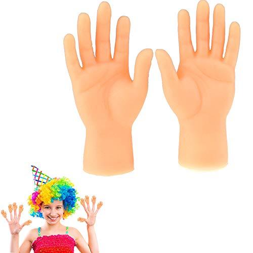1 Paar Tiny Hand Fingerpuppen Kleiner Finger Props Für Hände Halloween Hand Prop Zubehör Mini Prank Hand Gag Kleinkind-Spielzeug (Linke Und Rechte Hand)