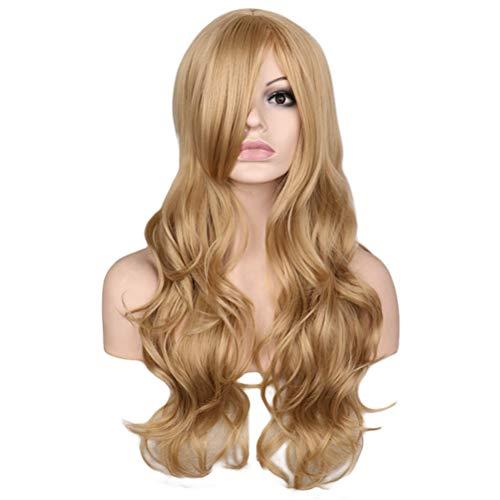 Jiafa Mesdames Grande Vague Or Haute Température Soie Longue Bouclée Perruque de Cheveux Bouclés (Couleur : Or)