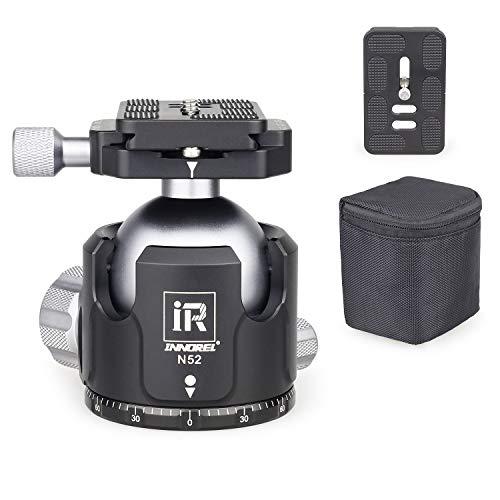 INNOREL N52 Treppiede a sfera a basso profilo con testa a sfera panoramica CNC in metallo con due piastre a sgancio rapido Arca Swiss per treppiede, monopiede DSLR videocamera carico massimo 30kg