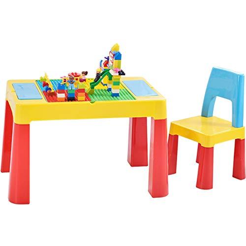 Juego de Escritorio y Silla de Estudio para Niños Los niños escritorio y Juego de sillas multifuncional Módulo Estudio Tabla muchacho y de la muchacha juega juegos con mesa de pierna Elevación del coj