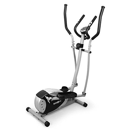 KLAR FIT Klarfit Ellifit Basic 20 Exercise Elliptical Cross Trainer for Cardio Fitness Training (Integrated Heart Rate Monitor, 8-Step Adjustable Resistance, Training Computer) Silver