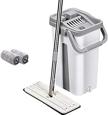 PureaticTM Mop with Bucket by UPC Economy Hands-Free Squeeze Microfiber Flat Spin System 360° Flexible Head with 2 Super-Abso