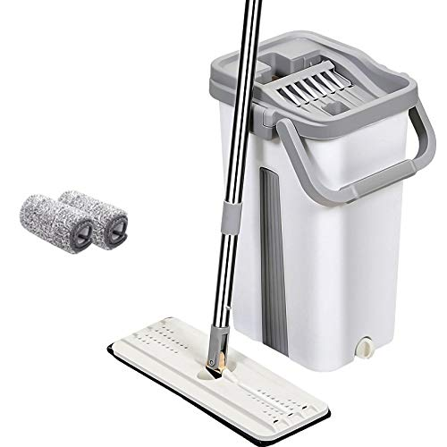 PureaticTM Mop with Bucket by UPC Economy Hands-Free Squeeze Microfiber Flat Spin System 360° Flexible Head with 2 Super-Absorbent Pads, 59.8'' SS Stick (33 X 12 cm) (White)