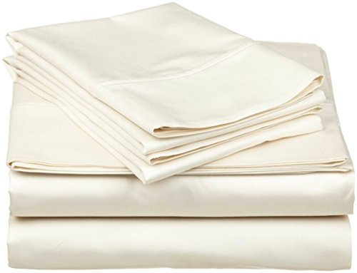 """Xtream Fabric 6 Piece Bed Sheet Set - 600 Thread Count Long Staple Egyptian Cotton, Ultra Soft & Colling Sheets fits Upto 12"""" deep Pocket Mattress Full, Ivory Solid"""