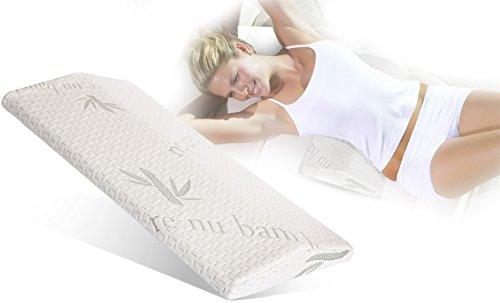 Gel Cooling Lumbar Support Pillow for Sleeping Memory Foam Pillow for Back Pain Relief – Side, Back and Stomach Sleepers– Triangle Wedge Bolster Pillow– with Heat Dissipating Gel & Washable Cover