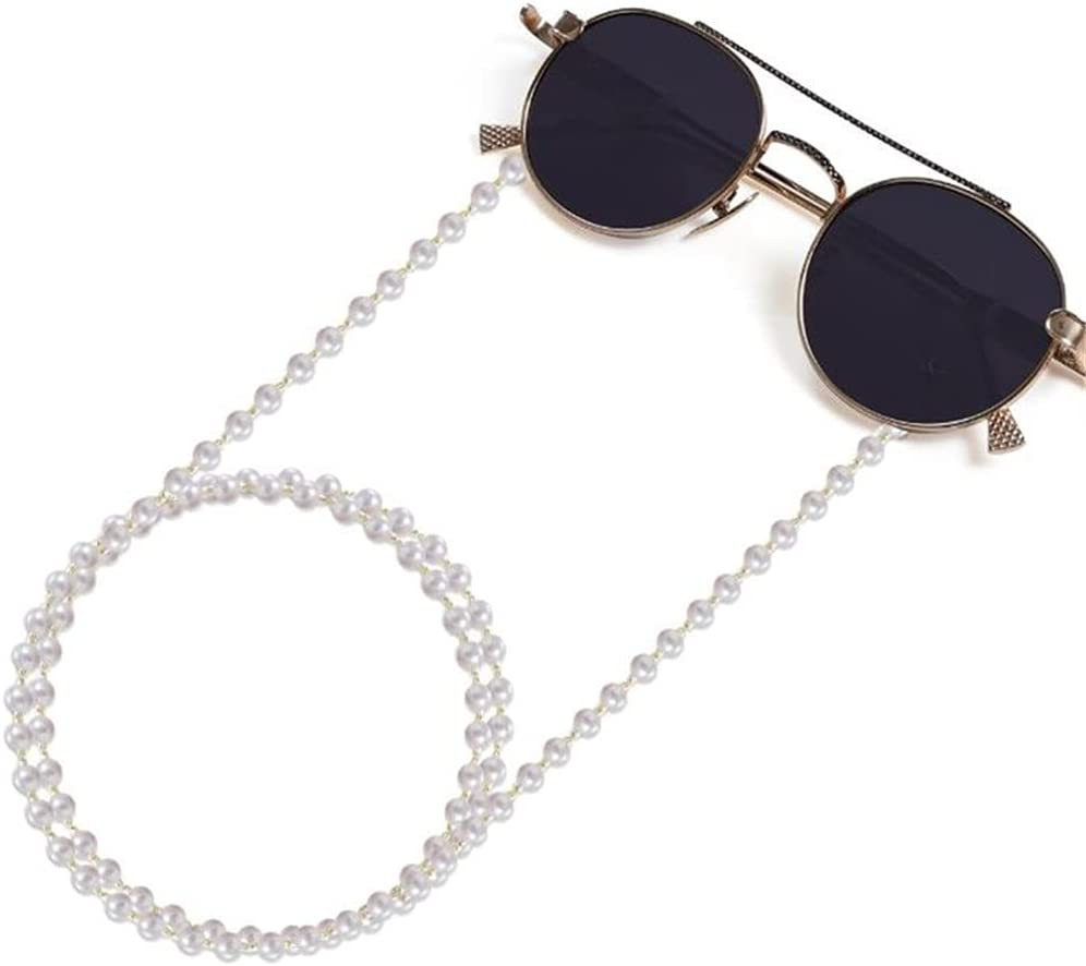 SSMDYLYM Glasses Chain for Women Pearl Bead Lanyard Glasses Strap Sunglasses Chain Cords Casual Glasses Accessories (Color : C, Size : Length-70CM)