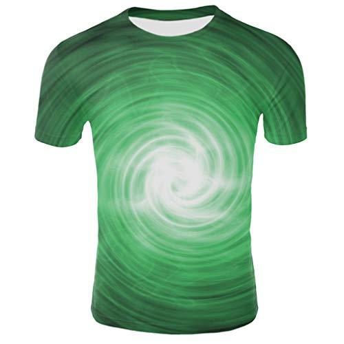 Yowablo T-Shirt Homme col o été 3D Impression numérique créative à Manches Courtes (M,2Vert)