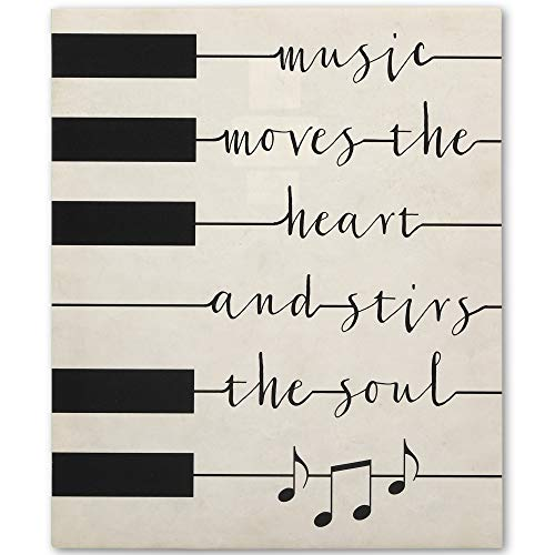 Open Road Brands Piano Keys Music Quote Canvas Wall Décor - Music Moves The Heart and Stirs The Soul Art Painting