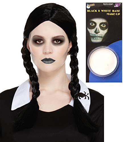 Peluca Trenzada con Base de Pintura para la Cara, para Halloween o Terror