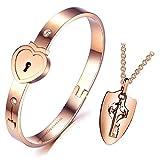 Impression Couple Heart Lock and Key Stainless Steel Bracelet Pendant Necklace Set