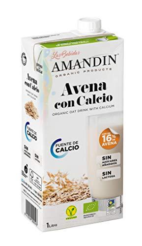 AMANDIN Bebida De Con Calcio - Paquete De 6 X 1000 Ml - Total: Ml, Avena, 6000 Mililitro, 6 Unidades