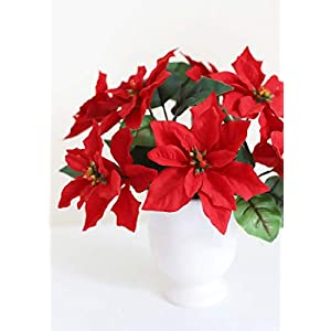 Indoor/Outdoor Water Resistant Artificial Poinsettia Bush in Red