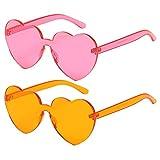 lolitarcrafts occhiali da sole a forma di cuore da 2 pezzi occhiali da sole vintage color caramella hippy per accessori fancy dress, party cosplay (rosa e arancione)
