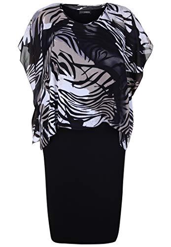 Doris Streich Damen Kleid mit Chiffonüberwurf Animal-Print