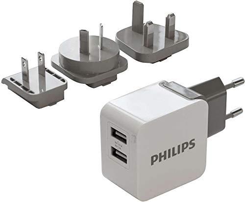 Philips USB-Reiseladegerät DLP2220/10 - Ladegeräte für Mobilgeräte (Innenraum, AC, 5 V, Weiß)