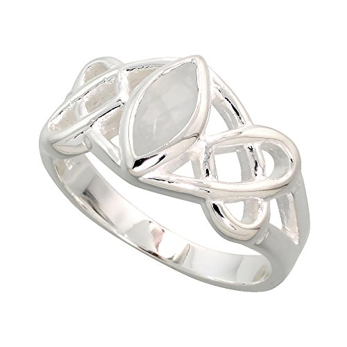 Sterling Silver Celtic Motherhood Knot Ring with Natural Moonstone, 3/8 inch Wide, Size 6