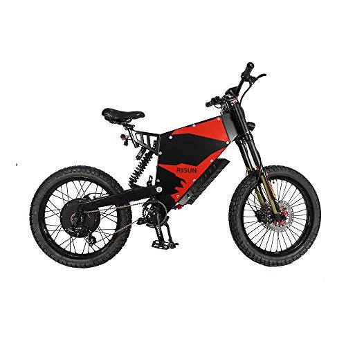 CONHIS MOTOR Ebike 72V 5000W FC-1 Stealth Bomber Mountain Bike with 35AH Battery Electric Bicycle for Adults (All-Terrain Tire)