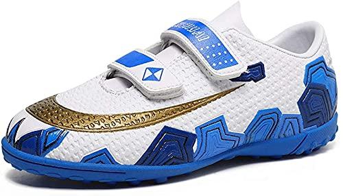 CPBY Zapatos de fútbol para Hombres para Hombre, Zapatos de fútbol para Hombres, niño Grande, Zapatos de fútbol, Hierba, Zapatos de fútbol, White/Blue - 1 Big Kid