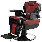 Artist Hand Barber Chair Hydraulic Reclining Barber Chairs Heavy Duty Salon Chair for Hair Stylist Tattoo Chair Salon Equipment (Red,Black)