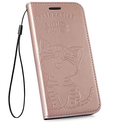 Ysimee Compatible Fundas Samsung Galaxy S10e Estuches Libro de Cuero Carcasa con Tapa Ultra Delgado Billetera Cartera Ranuras de Tarjeta,Soporte Plegable,Cierre Magnético Flip Cover,Oro Rosa