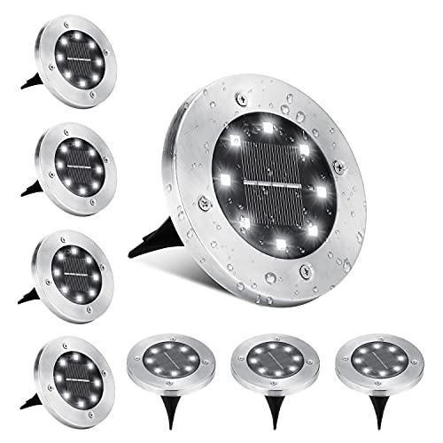 Luci Solari Giardino Esterno, BrizLabs 8 LEDs Luce Sepolta Lampada Solare da Esterno Faretti Led Solari Impermeabile IP65 Luci Terra Giardino per Prato Vialetto Scala Paesaggio, Bianco Freddo 8 Pezzi