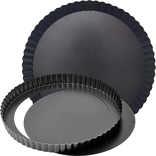 BESTZY Delicious Tarteform, Gute Antihaftbeschichtung, herausdrückbarer Hebeboden, gleichmäßige Bräunung durch optimale Wärmeleitung mit abnehmbaren Basis Ø 22 cm - 2 Pack