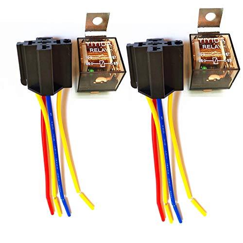 YIYIDA Kfz-Relais auto relais große Kapazität wasserdicht Auto Umschaltrelais Wechselrelais 12V 60A 4-polig SPST-kabelstecker mit farblich gekennzeichneten Drähten für LKW Van motorrad car