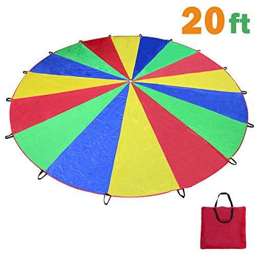Voilamart Parachute 20 Feet Play Parachute for Kids Children Rainbow Parachute Kids Parachute with 16 Handles Zipped Carry Bag for Outdoor Cooperative Group Play