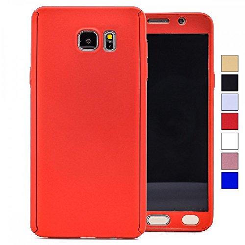 COOVY® Cover für Samsung Galaxy Note 5 SM-N920 / SM-920F 360 Grad rundum Bumper Case, Ultra dünn und leicht, mit Displayschutz, Fullbody-Hülle | Farbe rot