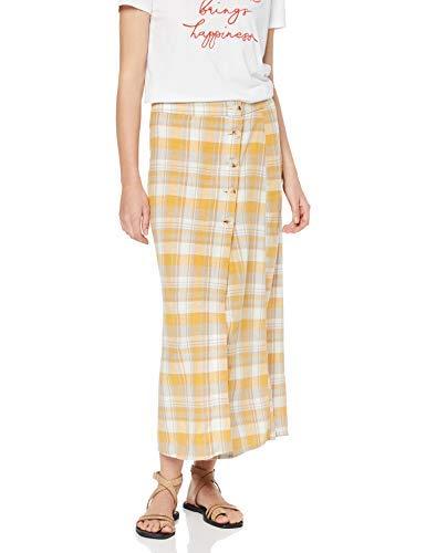 Falda amarilla a cuadros para Mujer (Yellow Pattern 89), 40