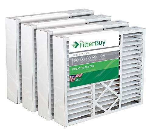 FilterBuy 20x25x5 Honeywell FC100A1037 Compatible Pleated AC Furnace Air Filters (MERV 8, AFB Silver). Replaces Honeywell 203720, FC35A1027, FC100A1037, FC200E1037, Carrier FILXXCAR-0020. 4 Pack.