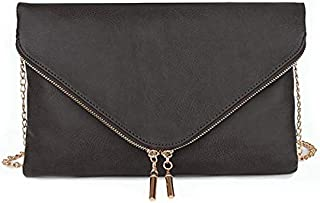 Envelope Foldover Wristlet Clutch Crossbody Bag with Chain Strap