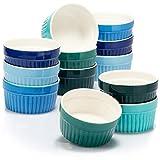 com-four® 12x Moldes para Soufflé - Cuencos de Cerámica para Crema Brulee - Tacitas para Postres y Pastelería, Flan o Ragú
