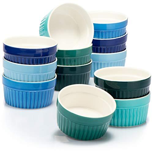 COM-FOUR® 12x Ramequins soufflés - petits bols en céramique crème brûlée - moules allant au four - bols à dessert et moules à pâtisserie
