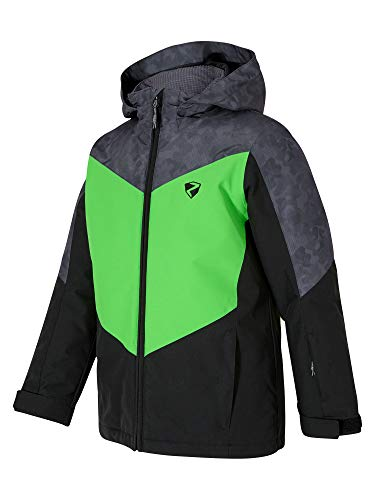 Ziener Jungen AVAN jun (jacket ski) Kinder Skijacke, Winterjacke/Wasserdicht, Winddicht, Warm, Black.Green, 128
