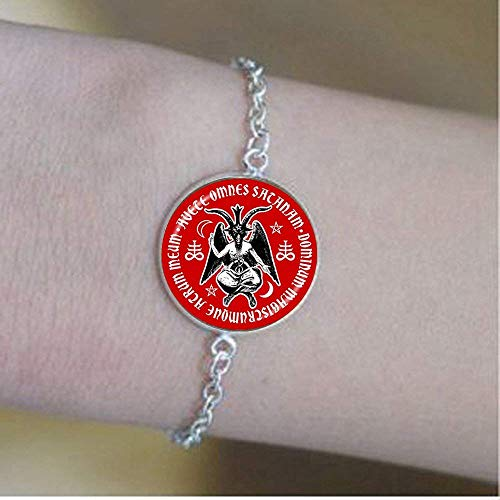 Handmade Satanic Baphomet Goat Bracelet, Satanic Pentagram Jewelry Satanism Jewelry